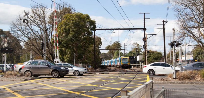 Manchester Road level crossing and Mooroolbark Station - before.
